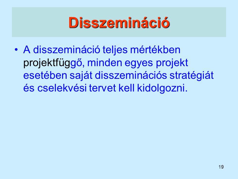 19 Disszemináció A disszemináció teljes mértékben projektfüggő, minden egyes projekt esetében saját disszeminációs stratégiát és cselekvési tervet kel