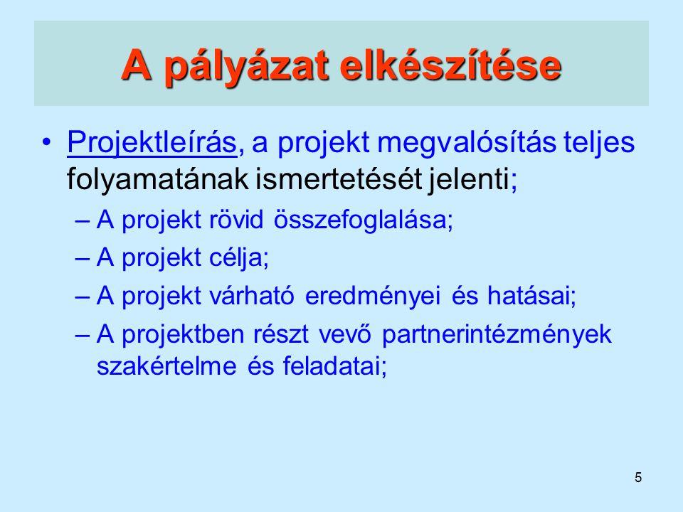 5 A pályázat elkészítése Projektleírás, a projekt megvalósítás teljes folyamatának ismertetését jelenti; –A projekt rövid összefoglalása; –A projekt c