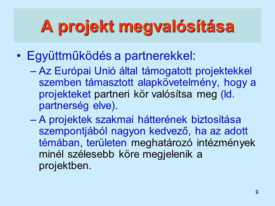 9 A projekt megvalósítása Együttműködés a partnerekkel: –Az Európai Unió által támogatott projektekkel szemben támasztott alapkövetelmény, hogy a proj