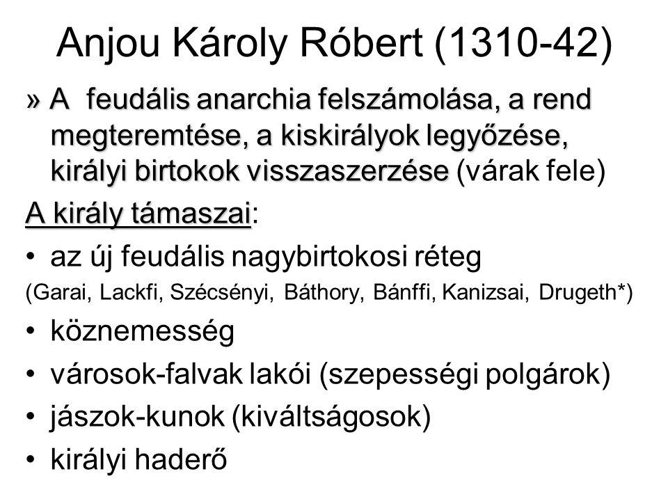 Anjou Károly Róbert (1310-42) » A feudális anarchia felszámolása, a rend megteremtése, a kiskirályok legyőzése, királyi birtokok visszaszerzése » A feudális anarchia felszámolása, a rend megteremtése, a kiskirályok legyőzése, királyi birtokok visszaszerzése (várak fele) A király támaszai A király támaszai: az új feudális nagybirtokosi réteg (Garai, Lackfi, Szécsényi, Báthory, Bánffi, Kanizsai, Drugeth*) köznemesség városok-falvak lakói (szepességi polgárok) jászok-kunok (kiváltságosok) királyi haderő