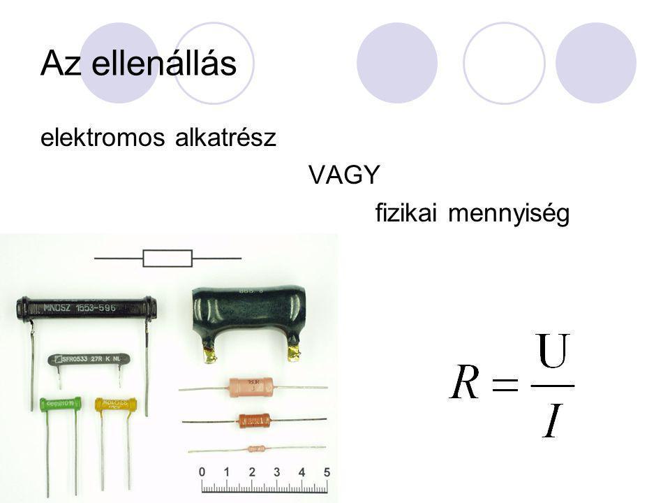 Vezetékek ellenállása Vezeték ellenállása függ: a vezeték hosszától a vezeték keresztmetszetétől a vezeték hőmérsékletétől a vezeték anyagától (ellenállás anyagi minőséget jellemez) Anyagi minőség jellemzője: fajlagos ellenállás (20 o C – os, 1m hosszú, 1 mm 2 keresztmetszetű huzal ellenállása)