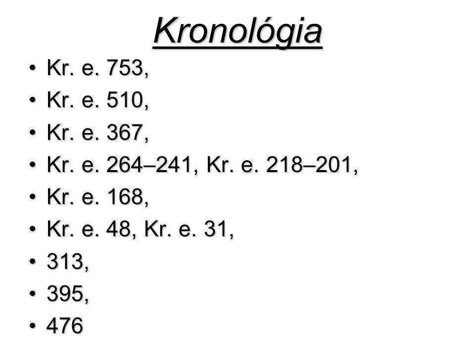 Kronológia Kr. e. 753,Kr. e. 753, Kr. e. 510,Kr. e. 510, Kr. e. 367,Kr. e. 367, Kr. e. 264–241, Kr. e. 218–201,Kr. e. 264–241, Kr. e. 218–201, Kr. e.
