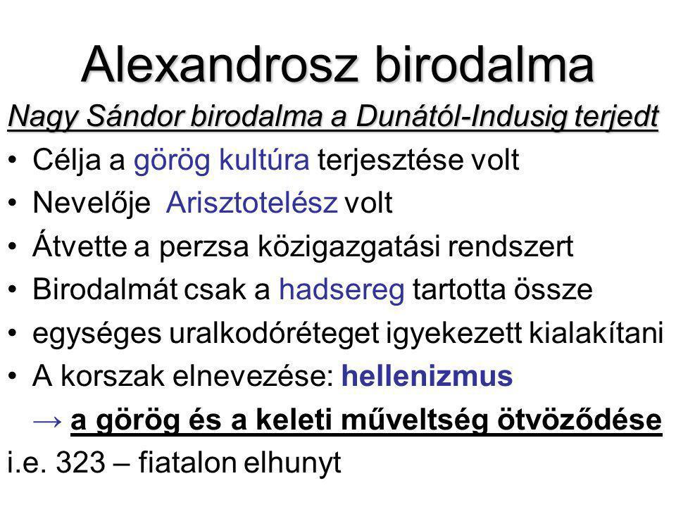 Alexandrosz birodalma Nagy Sándor birodalma a Dunától-Indusig terjedt Célja a görög kultúra terjesztése volt Nevelője Arisztotelész volt Átvette a per