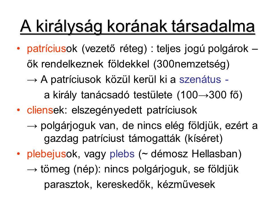A királyság korának társadalma patríciusok (vezető réteg) : teljes jogú polgárok – ők rendelkeznek földekkel (300nemzetség) → A patríciusok közül kerül ki a szenátus - a király tanácsadó testülete (100→300 fő) cliensek: elszegényedett patríciusok → polgárjoguk van, de nincs elég földjük, ezért a gazdag patríciust támogatták (kíséret) plebejusok, vagy plebs (~ démosz Hellasban) → tömeg (nép): nincs polgárjoguk, se földjük parasztok, kereskedők, kézművesek