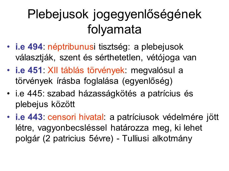 Plebejusok jogegyenlőségének folyamata i.e 494: néptribunusi tisztség: a plebejusok választják, szent és sérthetetlen, vétójoga van i.e 451: XII táblás törvények: megvalósul a törvények írásba foglalása (egyenlőség) i.e 445: szabad házasságkötés a patrícius és plebejus között i.e 443: censori hivatal: a patríciusok védelmére jött létre, vagyonbecsléssel határozza meg, ki lehet polgár (2 patricius 5évre) - Tulliusi alkotmány