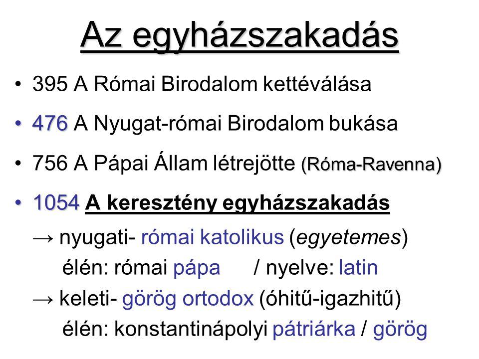 Eltérések a római katolikus és az ortodox egyház között RÓMAI KATOLIKUSORTODOX Latin nyelvűGörög nyelvű Római pápa az irányítójaRóma és Bizánc püspökei =-ek A pápa egyedül irányítjaEgyetemes zsinat irányítja A pápa első a püspökök közöttA pátriárka a legnagyobb rangú Van tisztítótűz (Purgatrium)Nincs purgatórium Cölibátus (papi nőtlenség) vanPüspökök-szerzetesek nőtlenek Kovásztalan kenyérrel áldoznakKovászos kenyérrel áldoznak Gergely-naptárJulianus-naptár Az oltár nincs elválasztvaIkonosztáz választja el a híveket Fő-és mellékoltárok, képek stb.Csak 1oltár-ikonok-nincs szobor