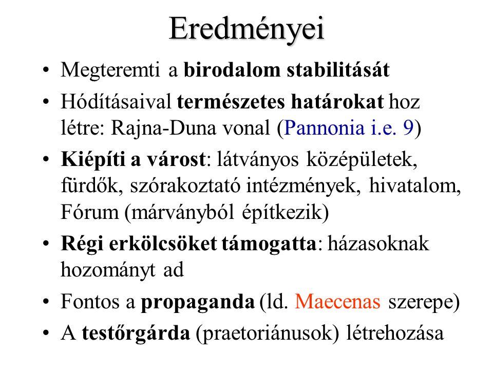 Eredményei Megteremti a birodalom stabilitását Hódításaival természetes határokat hoz létre: Rajna-Duna vonal (Pannonia i.e. 9) Kiépíti a várost: látv