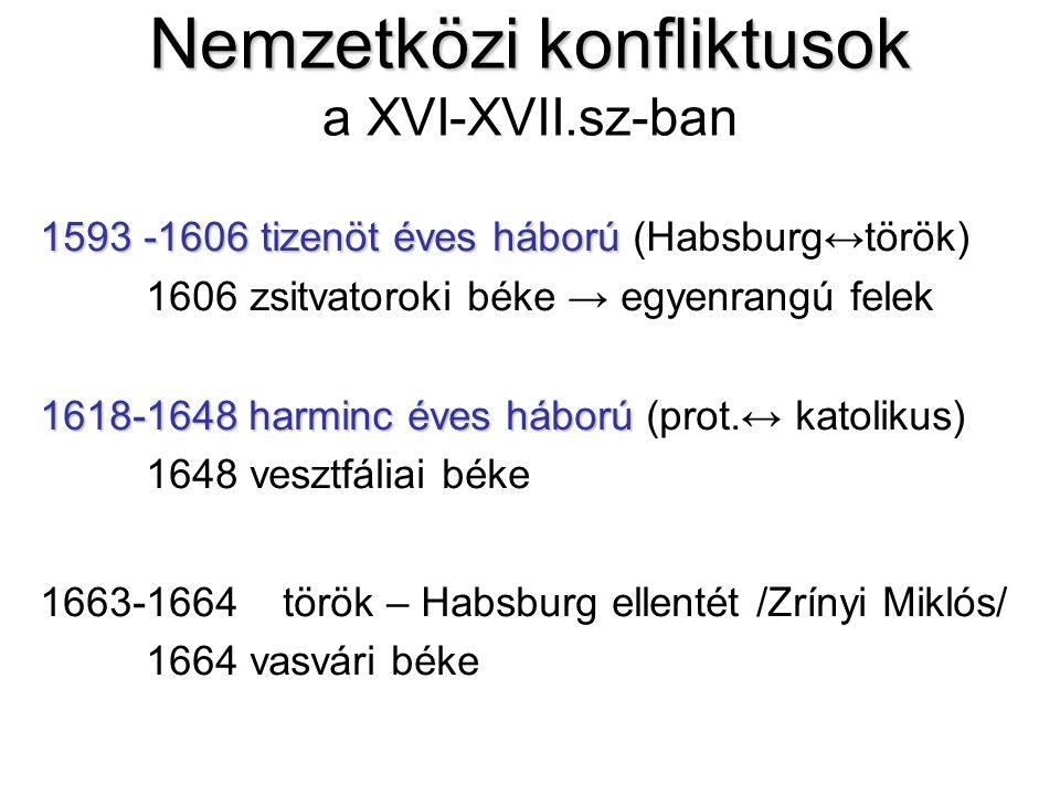 Nemzetközi konfliktusok Nemzetközi konfliktusok a XVI-XVII.sz-ban 1593 -1606 tizenöt éves háború 1593 -1606 tizenöt éves háború (Habsburg↔török) 1606