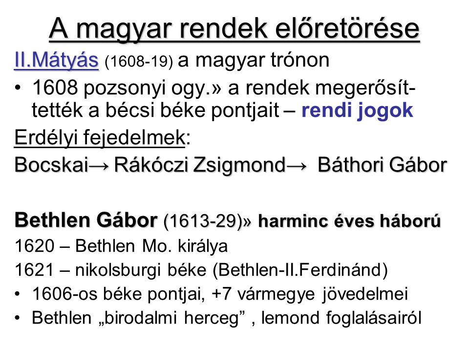 A magyar rendek előretörése II.Mátyás II.Mátyás (1608-19) a magyar trónon 1608 pozsonyi ogy.» a rendek megerősít- tették a bécsi béke pontjait – rendi