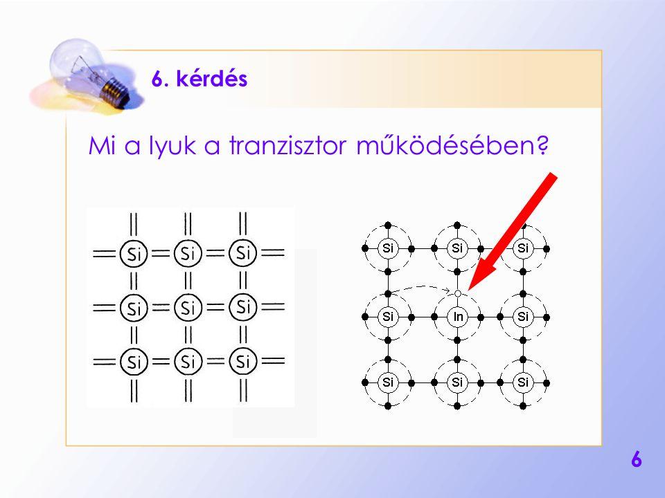 6 6. kérdés Mi a lyuk a tranzisztor működésében?