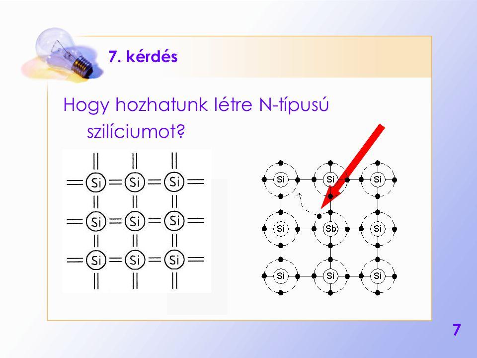 7 7. kérdés Hogy hozhatunk létre N-típusú szilíciumot?