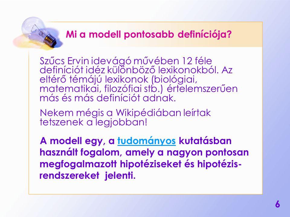 17 Lehetséges dolgozatkérdések Mi a modell.Hol használják a modelleket.