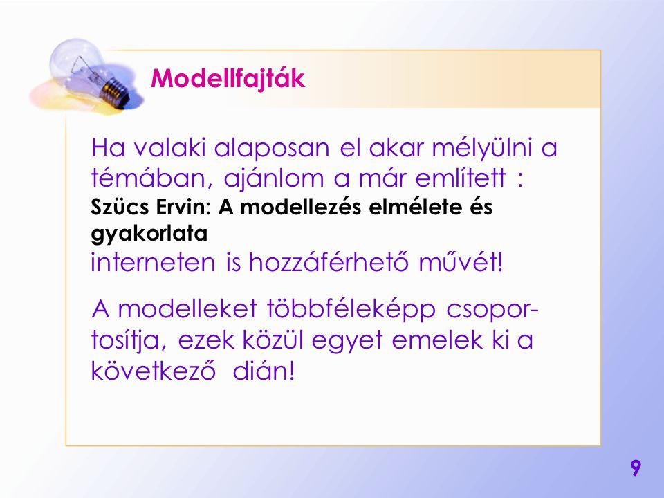 10 A modellek egy lehetséges csoportosítása