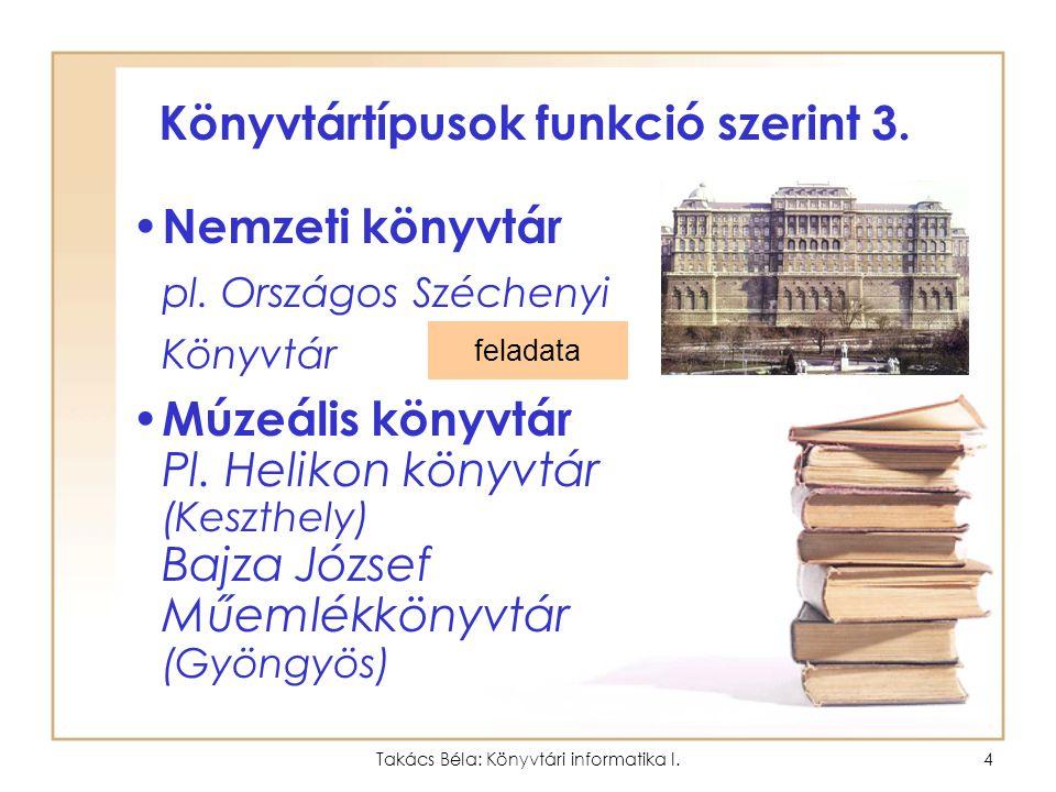 Takács Béla: Könyvtári informatika I.3 Könyvtártípusok funkció szerint 2. Közművelődési könyvtár Megyei könyvtár Városi könyvtár –Fiók könyvtár Község