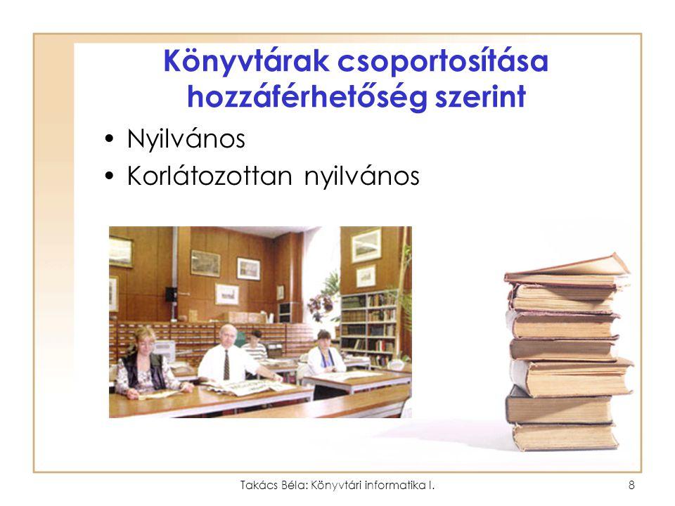 Takács Béla: Könyvtári informatika I.7 Könyvtárak csoportosítása fenntartók szerint Állami Önkormányzati Egyházi és más fenntartók által működtetett könyvtárak.