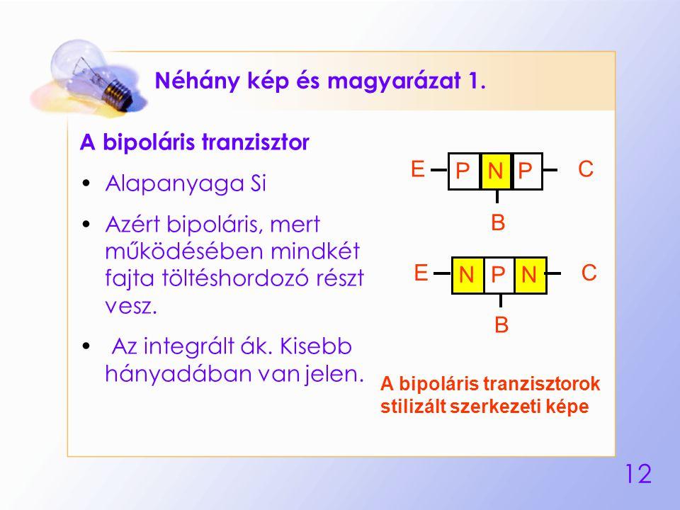 12 Néhány kép és magyarázat 1. A bipoláris tranzisztor Alapanyaga Si Azért bipoláris, mert működésében mindkét fajta töltéshordozó részt vesz. Az inte