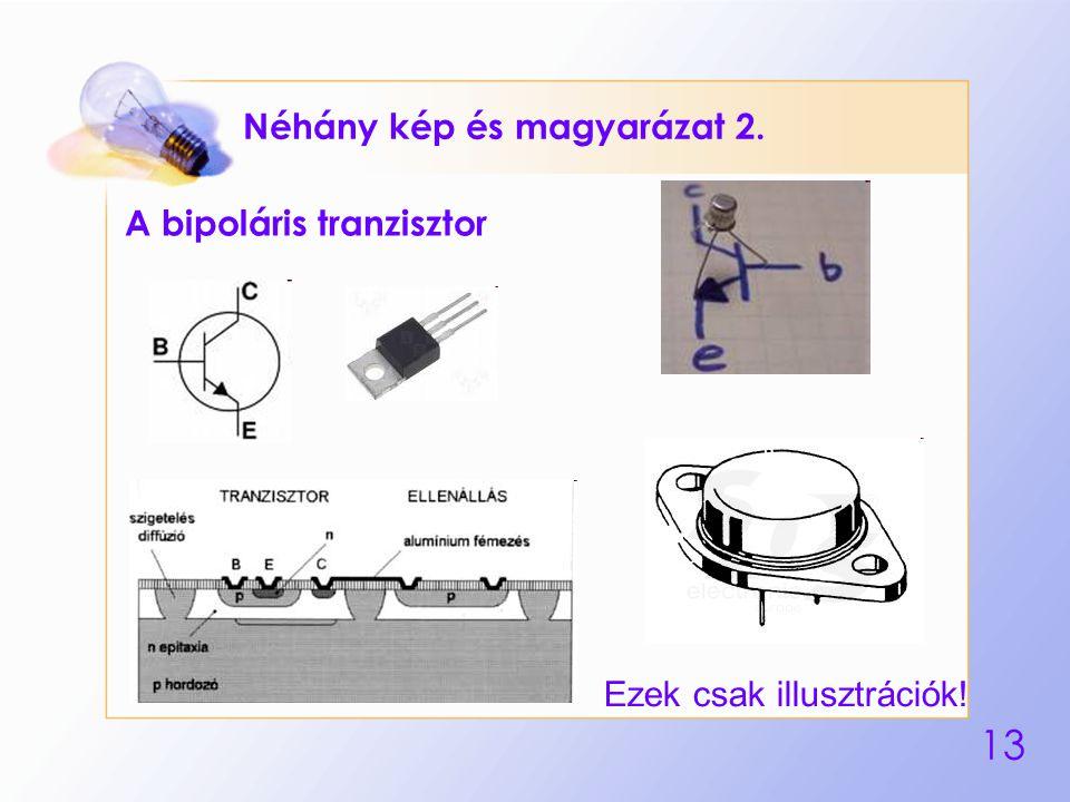 13 Néhány kép és magyarázat 2. A bipoláris tranzisztor Ezek csak illusztrációk!
