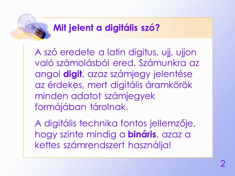 2 Mit jelent a digitális szó? A szó eredete a latin digitus, ujj, ujjon való számolásból ered. Számunkra az angol digit, azaz számjegy jelentése az ér