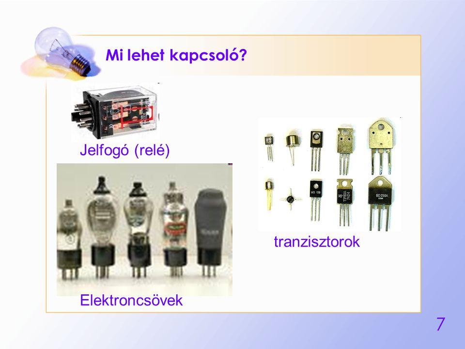 7 Mi lehet kapcsoló? Jelfogó (relé) Elektroncsövek tranzisztorok