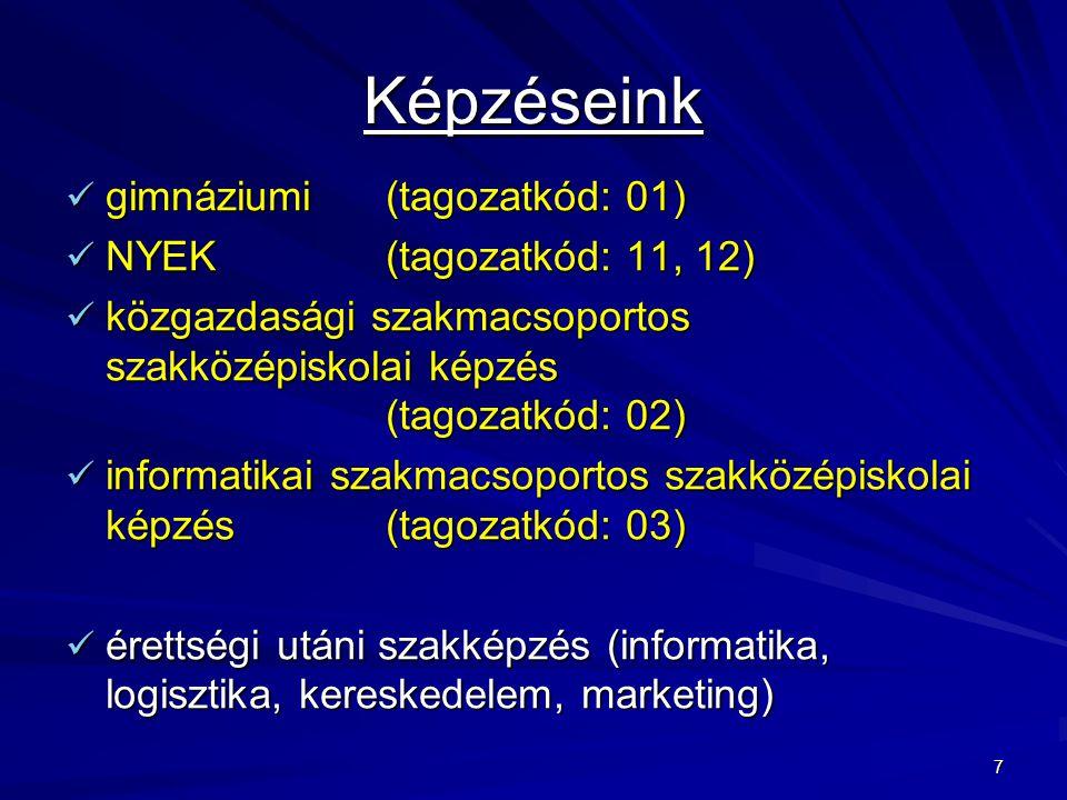 7 Képzéseink gimnáziumi (tagozatkód: 01) gimnáziumi (tagozatkód: 01) NYEK (tagozatkód: 11, 12) NYEK (tagozatkód: 11, 12) közgazdasági szakmacsoportos