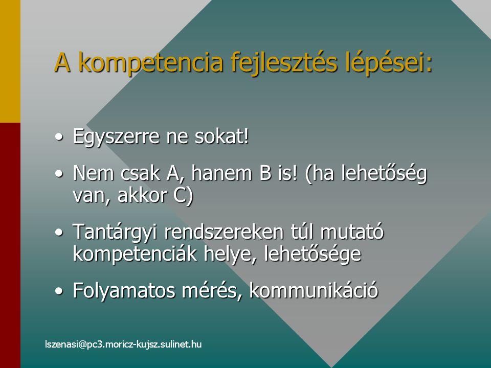 lszenasi@pc3.moricz-kujsz.sulinet.hu A kompetencia fejlesztés lépései: Egyszerre ne sokat!Egyszerre ne sokat.