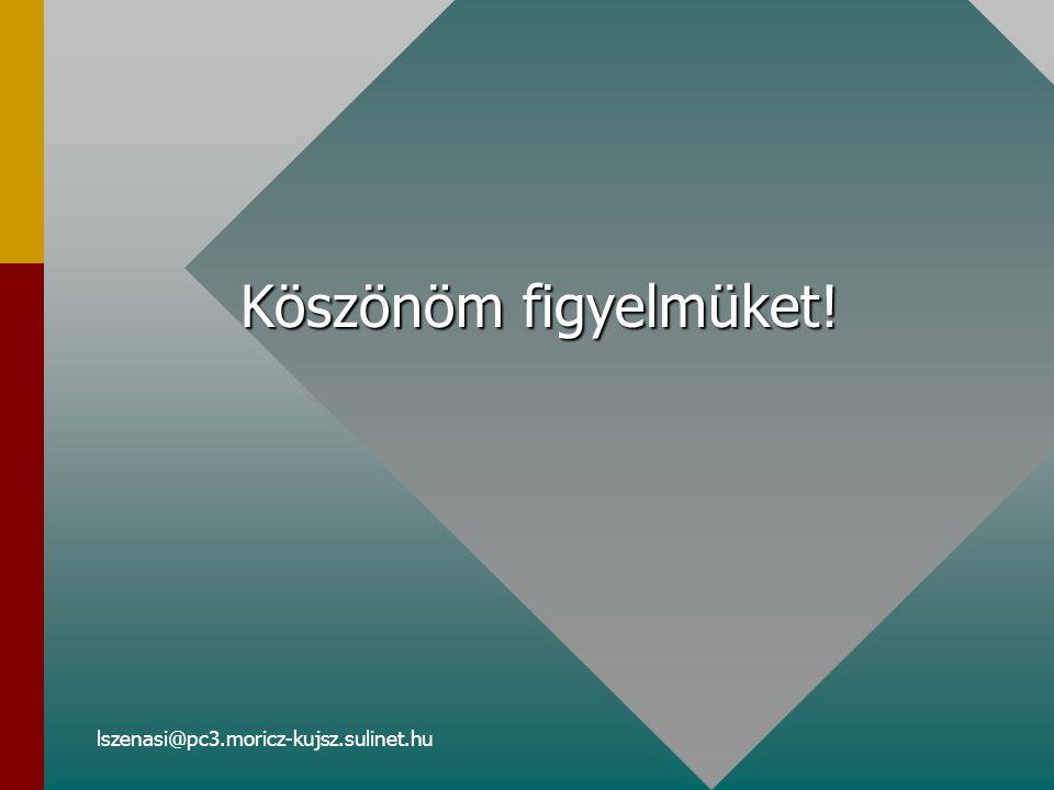 lszenasi@pc3.moricz-kujsz.sulinet.hu Köszönöm figyelmüket!