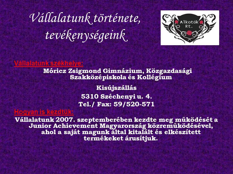 Vállalatunk története, tevékenységeink Vállalatunk székhelye: Móricz Zsigmond Gimnázium, Közgazdasági Szakközépiskola és Kollégium Kisújszállás 5310 Széchenyi u.
