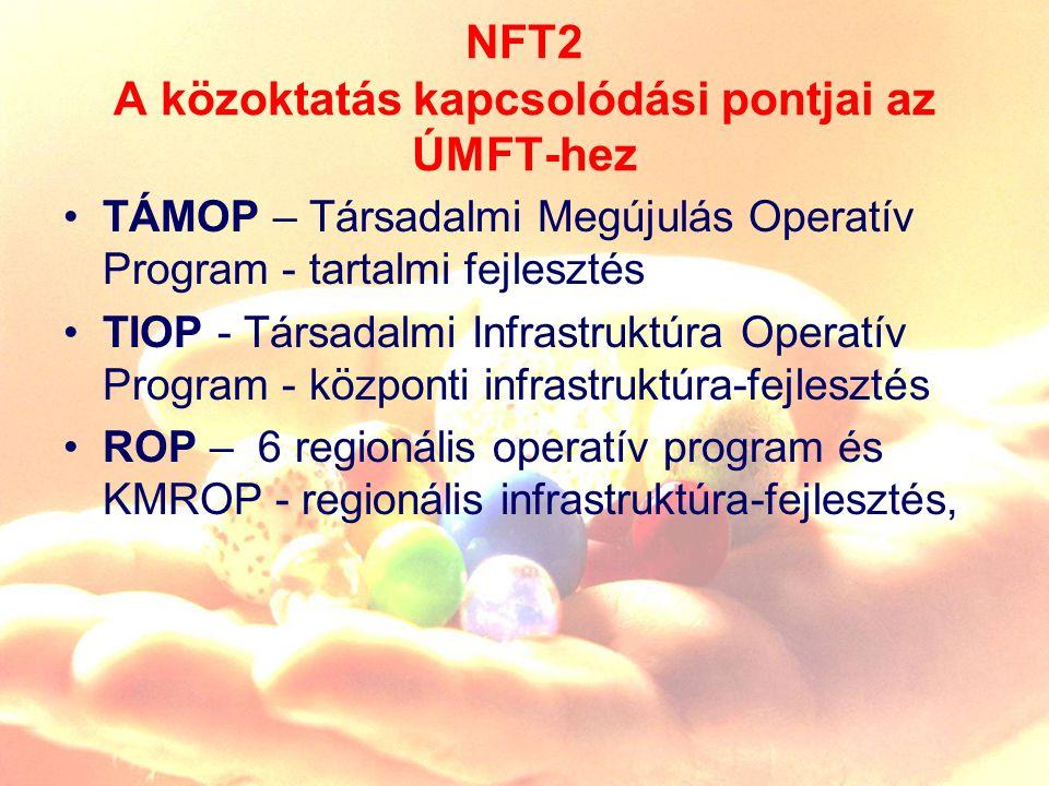 NFT2 A közoktatás kapcsolódási pontjai az ÚMFT-hez TÁMOP – Társadalmi Megújulás Operatív Program - tartalmi fejlesztés TIOP - Társadalmi Infrastruktúra Operatív Program - központi infrastruktúra-fejlesztés ROP – 6 regionális operatív program és KMROP - regionális infrastruktúra-fejlesztés,
