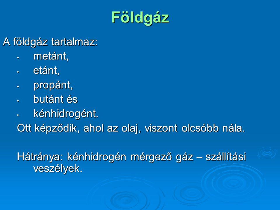 Földgáz A földgáz tartalmaz: metánt, metánt, etánt, etánt, propánt, propánt, butánt és butánt és kénhidrogént.