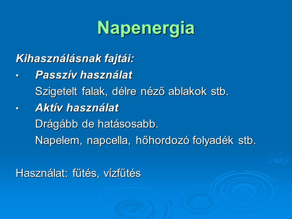 Napenergia Kihasználásnak fajtái: Passzív használat Passzív használat Szigetelt falak, délre néző ablakok stb.