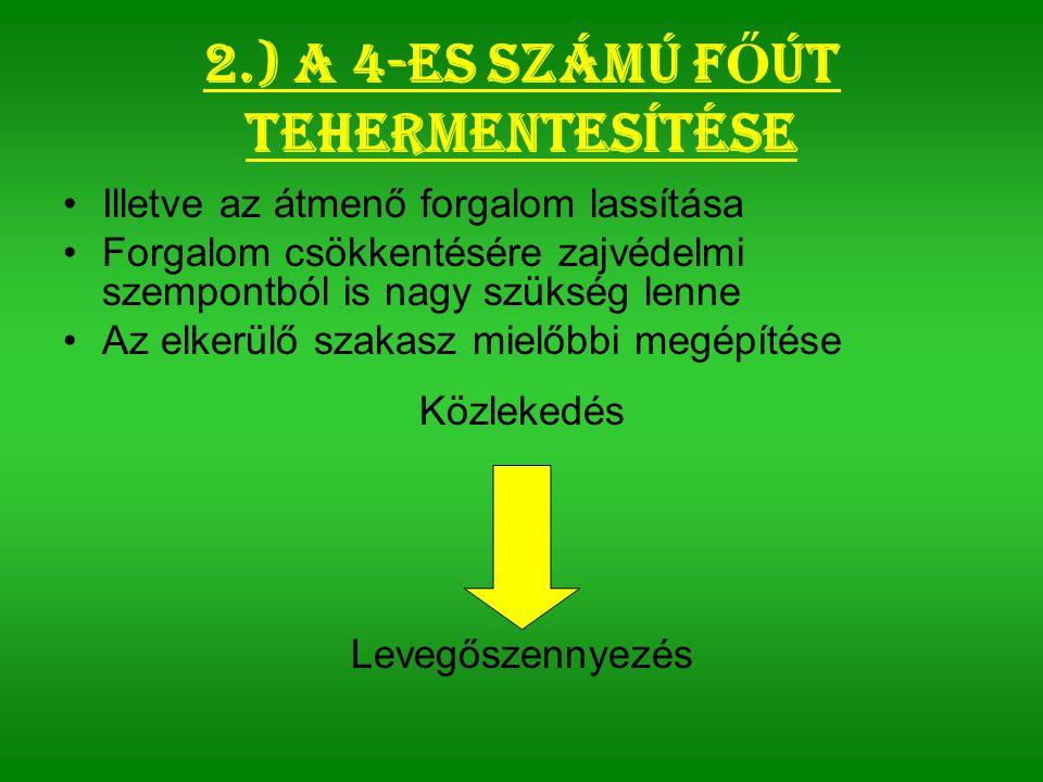 2.) A 4-es számú f Ő út tehermentesítése Illetve az átmenő forgalom lassítása Forgalom csökkentésére zajvédelmi szempontból is nagy szükség lenne Az elkerülő szakasz mielőbbi megépítése Közlekedés Levegőszennyezés