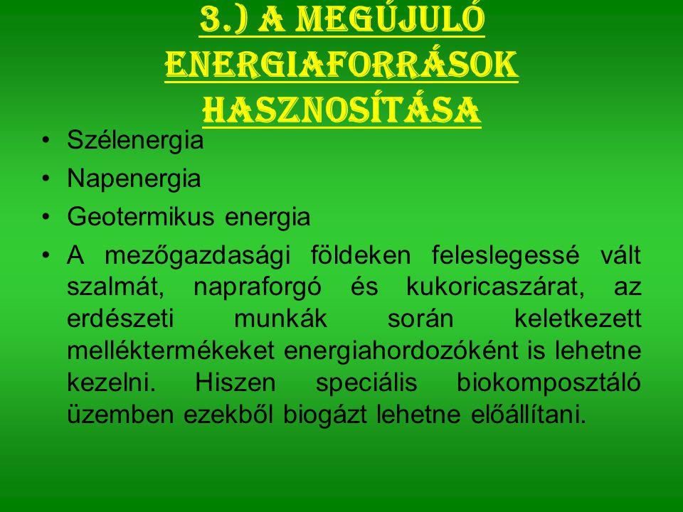 3.) A megújuló energiaforrások hasznosítása Szélenergia Napenergia Geotermikus energia A mezőgazdasági földeken feleslegessé vált szalmát, napraforgó