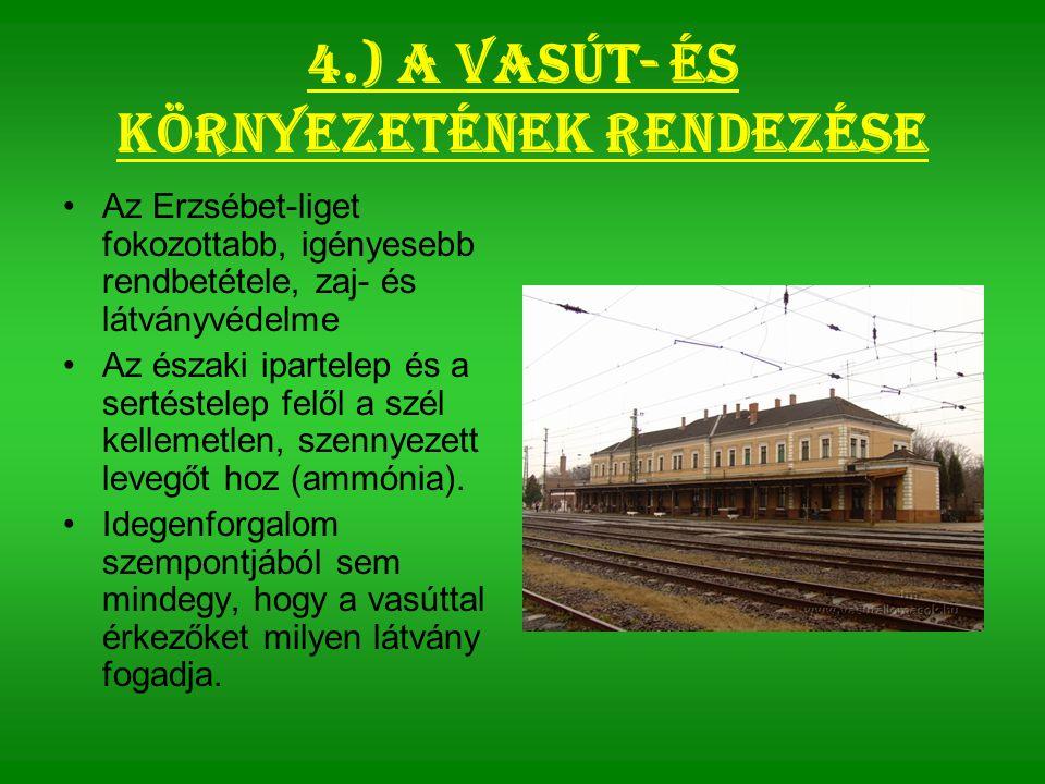 4.) A vasút- és környezetének rendezése Az Erzsébet-liget fokozottabb, igényesebb rendbetétele, zaj- és látványvédelme Az északi ipartelep és a sertéstelep felől a szél kellemetlen, szennyezett levegőt hoz (ammónia).