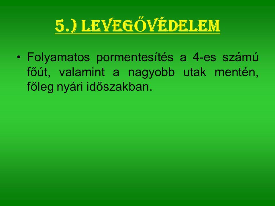 5.) Leveg Ő védelem Folyamatos pormentesítés a 4-es számú főút, valamint a nagyobb utak mentén, főleg nyári időszakban.