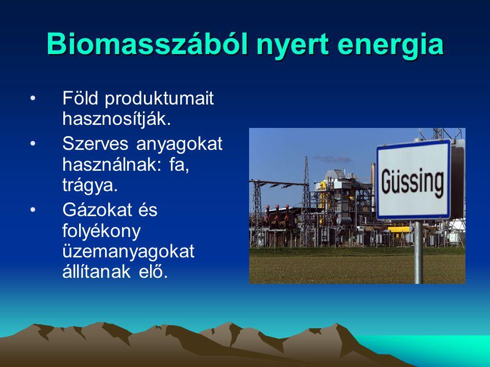 Biomasszából nyert energia Föld produktumait hasznosítják. Szerves anyagokat használnak: fa, trágya. Gázokat és folyékony üzemanyagokat állítanak elő.