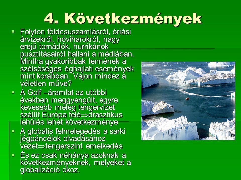 4. Következmények  Folyton földcsuszamlásról, óriási árvizekről, hóviharokról, nagy erejű tornádók, hurrikánok pusztításairól hallani a médiában. Min