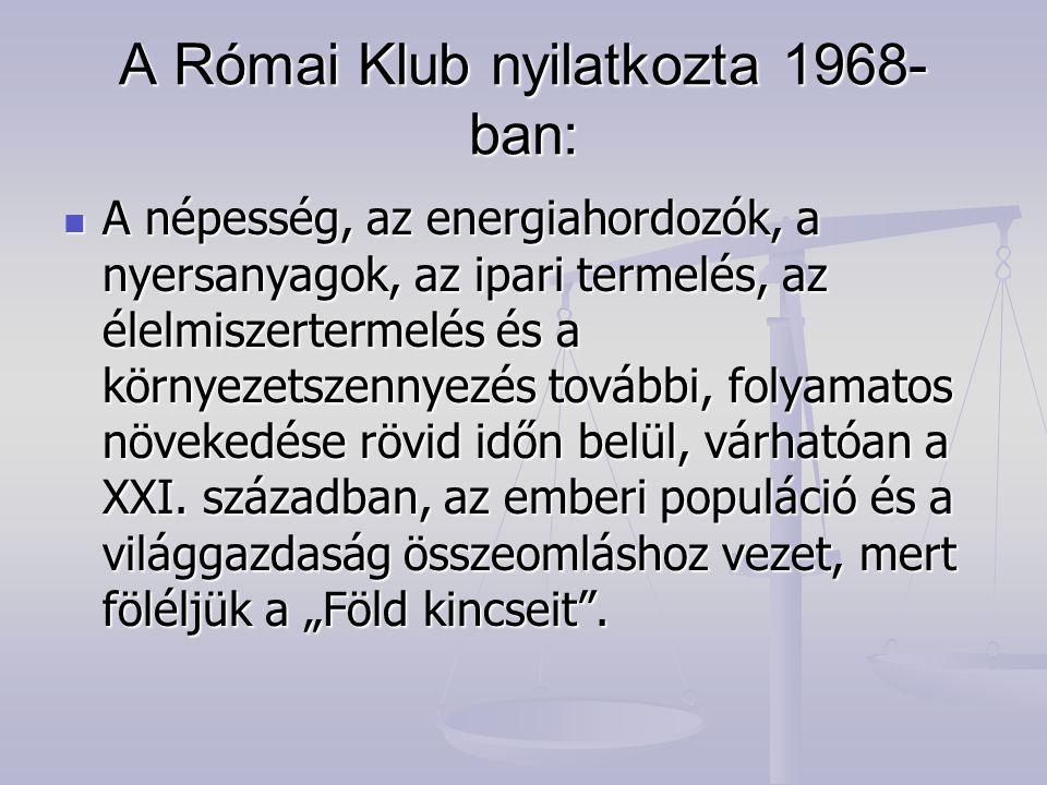A Római Klub nyilatkozta 1968- ban: A népesség, az energiahordozók, a nyersanyagok, az ipari termelés, az élelmiszertermelés és a környezetszennyezés