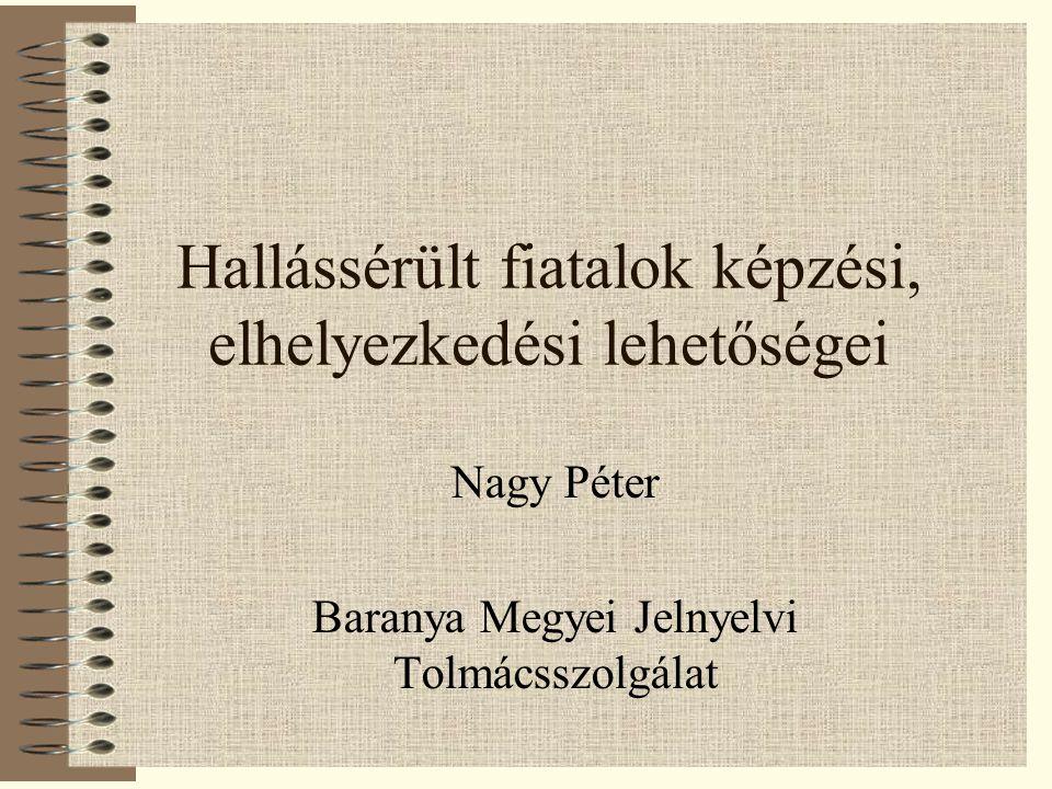 Hallássérült fiatalok képzési, elhelyezkedési lehetőségei Nagy Péter Baranya Megyei Jelnyelvi Tolmácsszolgálat Egy előadás könnyen vitára ösztönözheti a hallgatóságot.