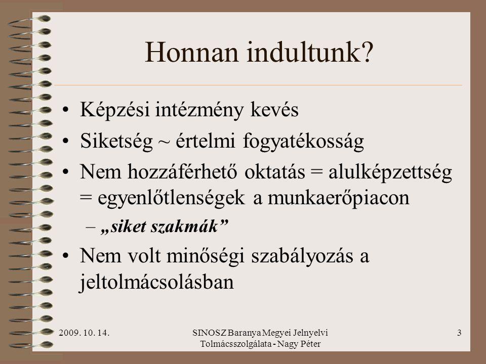2009. 10. 14.SINOSZ Baranya Megyei Jelnyelvi Tolmácsszolgálata - Nagy Péter 2 Adatok Magyarországon kb. 360 ezer hallássérült személy él Ebből kb. 60