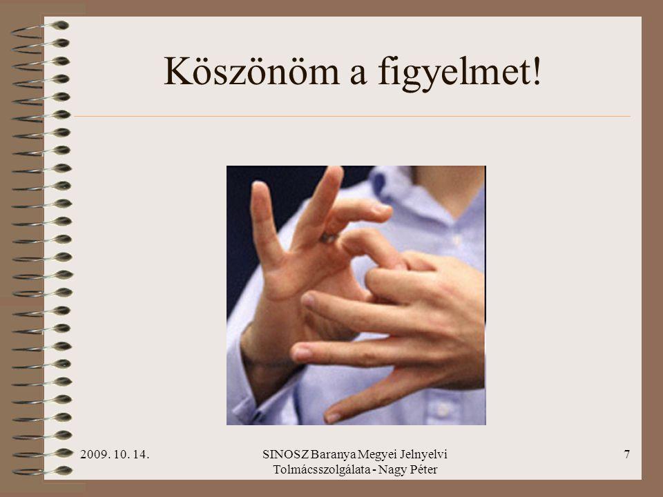 2009. 10. 14.SINOSZ Baranya Megyei Jelnyelvi Tolmácsszolgálata - Nagy Péter 7 Köszönöm a figyelmet!