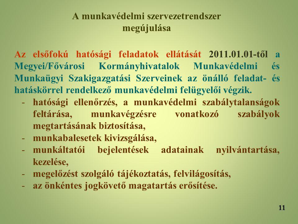 Az elsőfokú hatósági feladatok ellátását 2011.01.01-től a Megyei/Fővárosi Kormányhivatalok Munkavédelmi és Munkaügyi Szakigazgatási Szerveinek az önál