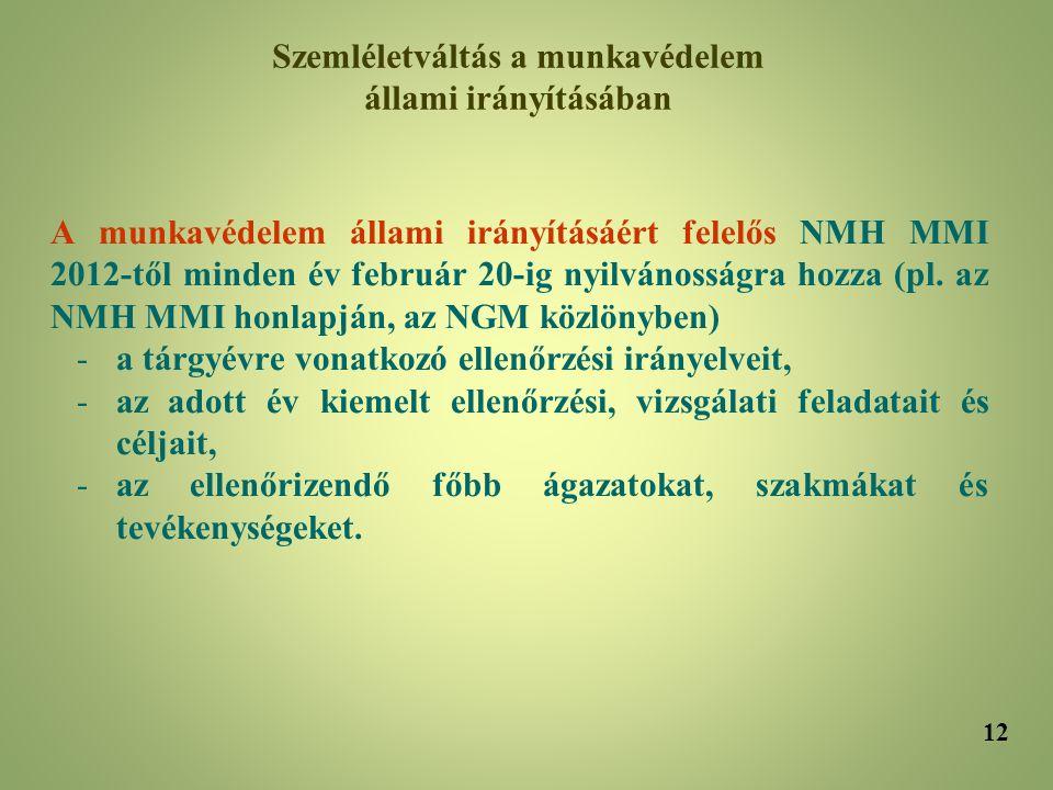 A munkavédelem állami irányításáért felelős NMH MMI 2012-től minden év február 20-ig nyilvánosságra hozza (pl. az NMH MMI honlapján, az NGM közlönyben