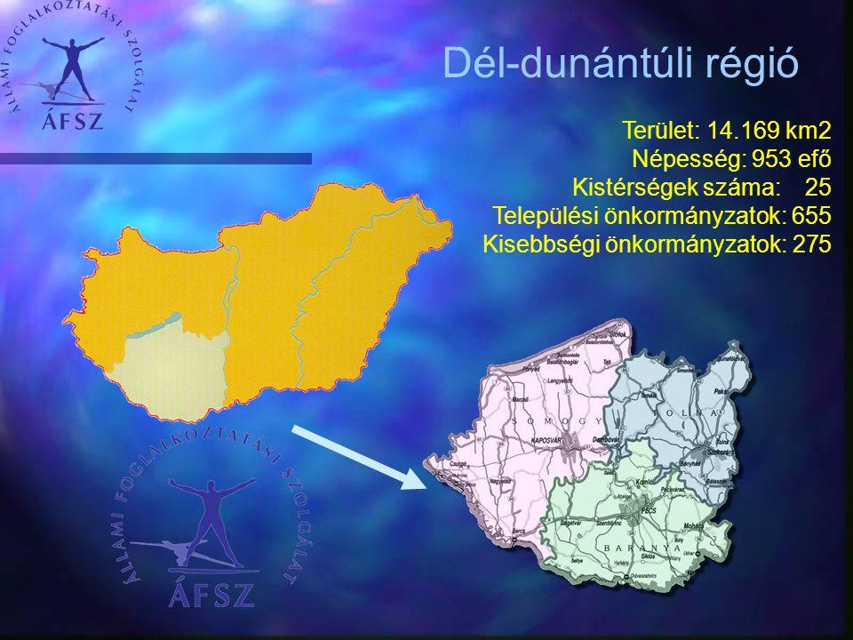 Terület: 14.169 km2 Népesség: 953 efő Kistérségek száma: 25 Települési önkormányzatok: 655 Kisebbségi önkormányzatok: 275 Dél-dunántúli régió