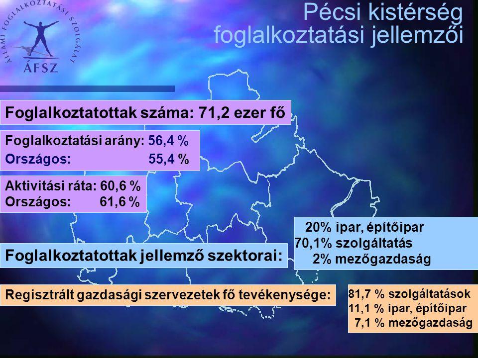 Pécsi Kirendeltség és Szolgáltató Központ munkaerő-piaci jellemzői A bejelentett álláshelyek számának alakulása támogatási igény szerint 2010.