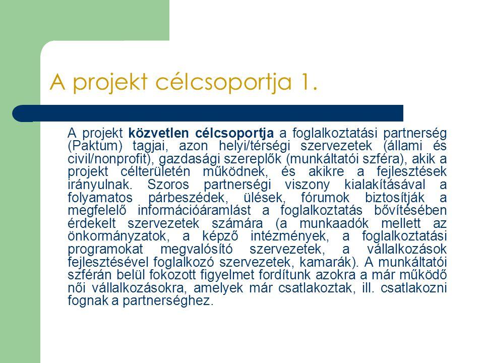 A projekt célcsoportja 1. A projekt közvetlen célcsoportja a foglalkoztatási partnerség (Paktum) tagjai, azon helyi/térségi szervezetek (állami és civ