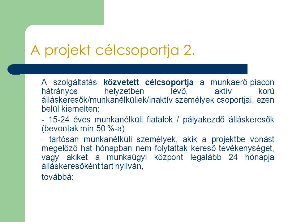 A projekt célcsoportja 2. A szolgáltatás közvetett célcsoportja a munkaerő-piacon hátrányos helyzetben lévő, aktív korú álláskeresők/munkanélküliek/in