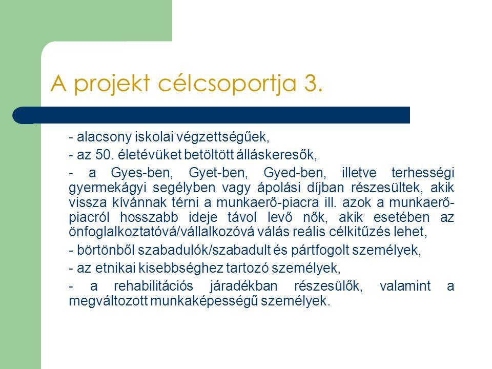 A projekt célcsoportja 3. - alacsony iskolai végzettségűek, - az 50. életévüket betöltött álláskeresők, - a Gyes-ben, Gyet-ben, Gyed-ben, illetve terh