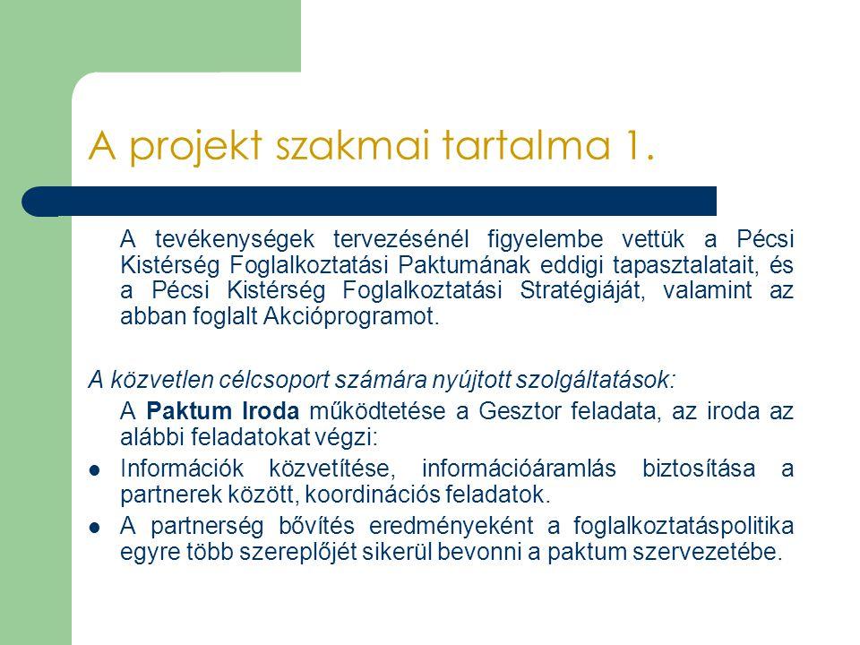 A projekt szakmai tartalma 1. A tevékenységek tervezésénél figyelembe vettük a Pécsi Kistérség Foglalkoztatási Paktumának eddigi tapasztalatait, és a