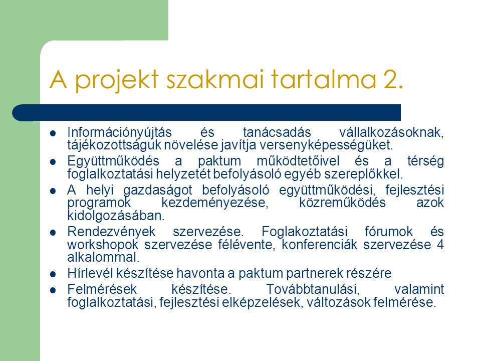 A projekt szakmai tartalma 2. Információnyújtás és tanácsadás vállalkozásoknak, tájékozottságuk növelése javítja versenyképességüket. Együttműködés a