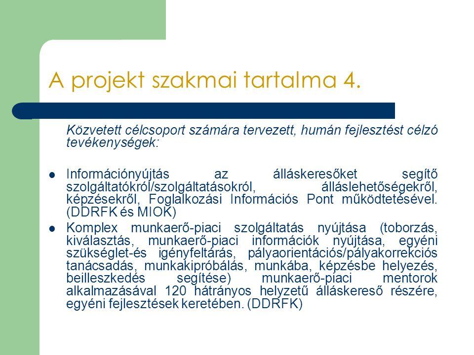 A projekt szakmai tartalma 4. Közvetett célcsoport számára tervezett, humán fejlesztést célzó tevékenységek: Információnyújtás az álláskeresőket segít